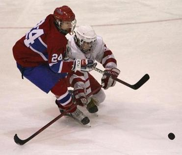 Natick's Trevor Kaplan (left) battles a Milton skater during Sunday's final in Bourne, a 3-1 loss for the Red and Blue.